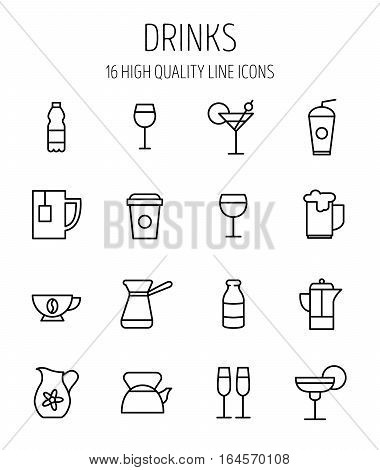 Set of drinks icons in modern thin line style. High quality black outline water, beer, milk symbols for web site design and mobile apps. Simple linear drinks pictograms on a white background.