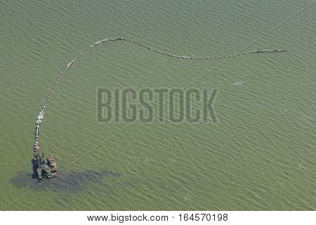 Aerial View Of A Polluted Lake In China