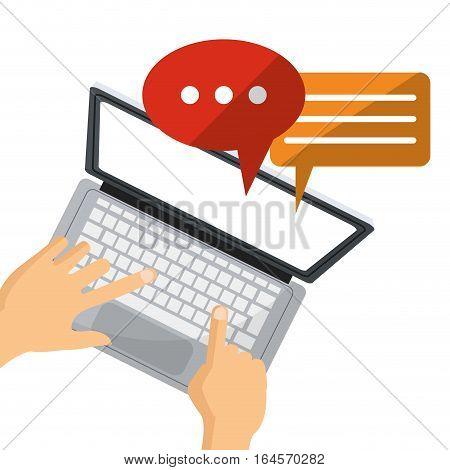 person user laptop social media chat talk vector illustration eps 10