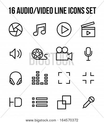 Set of multimedia icons in modern thin line style. High quality black outline audio and video symbols for web site design and mobile apps. Simple linear media pictograms on a white background.