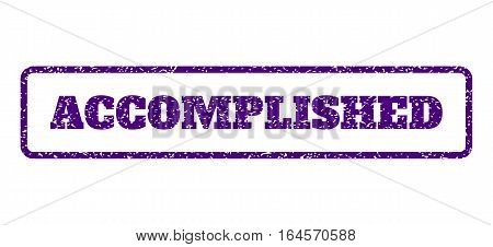 Indigo Blue rubber seal stamp with Accomplished text. Vector message inside rounded rectangular banner. Grunge design and dust texture for watermark labels. Horisontal emblem on a white background.