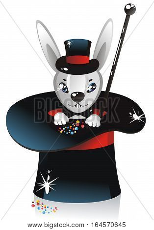 illustration - white rabbit in a illusionist hat