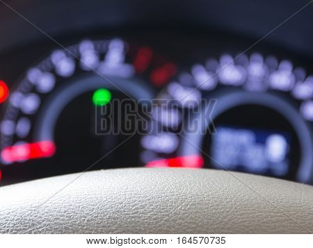 Blurred car dashboard with leather beige. for background.