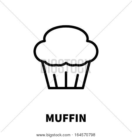 Muffin icon or logo in modern line style. High quality black outline pictogram for web site design and mobile apps. Vector illustration on a white background.
