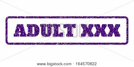 Indigo Blue rubber seal stamp with Adult XXX text. Vector message inside rounded rectangular frame. Grunge design and scratched texture for watermark labels. Horisontal sign on a white background.