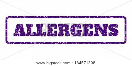 Indigo Blue rubber seal stamp with Allergens text. Vector message inside rounded rectangular frame. Grunge design and unclean texture for watermark labels. Horisontal sign on a white background.