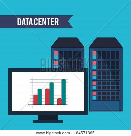 data center computer financial graph vector illustration eps 10
