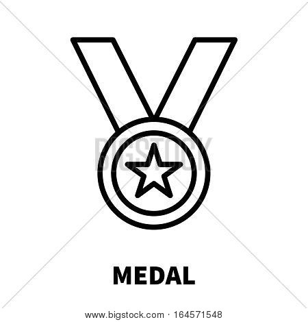 Medal icon or logo in modern line style. High quality black outline pictogram for web site design and mobile apps. Vector illustration on a white background.