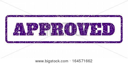 Indigo Blue rubber seal stamp with Approved text. Vector caption inside rounded rectangular frame. Grunge design and dust texture for watermark labels. Horisontal sticker on a white background.