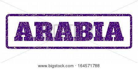 Indigo Blue rubber seal stamp with Arabia text. Vector caption inside rounded rectangular frame. Grunge design and dirty texture for watermark labels. Horisontal sign on a white background.