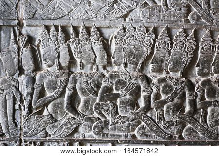 Ancient reliefs at the Angkor Wat Temple, Cambodia. Angkor Wat