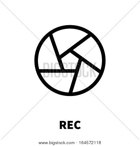 Rec icon or logo in modern line style. High quality black outline pictogram for web site design and mobile apps. Vector illustration on a white background.
