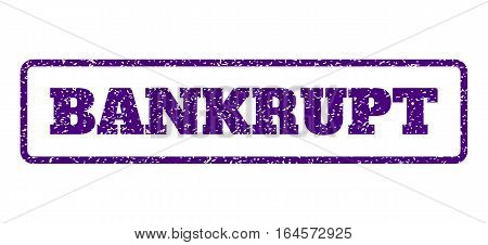 Indigo Blue rubber seal stamp with Bankrupt text. Vector tag inside rounded rectangular shape. Grunge design and scratched texture for watermark labels. Horisontal sticker on a white background.
