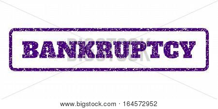 Indigo Blue rubber seal stamp with Bankruptcy text. Vector tag inside rounded rectangular frame. Grunge design and scratched texture for watermark labels. Horisontal emblem on a white background. poster