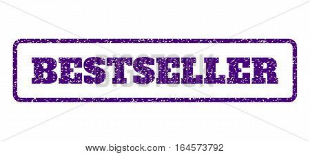 Indigo Blue rubber seal stamp with Bestseller text. Vector caption inside rounded rectangular banner. Grunge design and dirty texture for watermark labels. Horisontal sign on a white background.