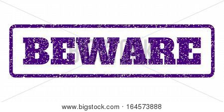 Indigo Blue rubber seal stamp with Beware text. Vector caption inside rounded rectangular banner. Grunge design and dirty texture for watermark labels. Horisontal sticker on a white background.