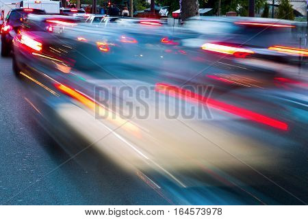 picture of city traffic in motion blur