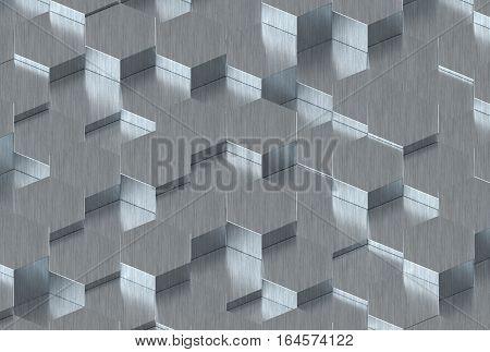 Metal Hexagon Metal Background Texture. 3d illustration