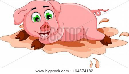 funny pig cartoon playing in mud puddle