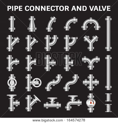 Vector icon of steel pipe connector and valve for plumbing work.