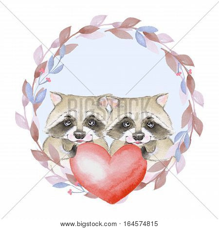 Cute raccoons. Couple. Red heart. Watercolor illustration