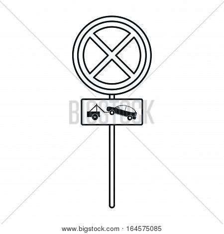 no parking road sign crane car linear vector illustration eps 10