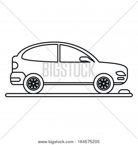 car coupe parking lot linear vector illustration eps 10