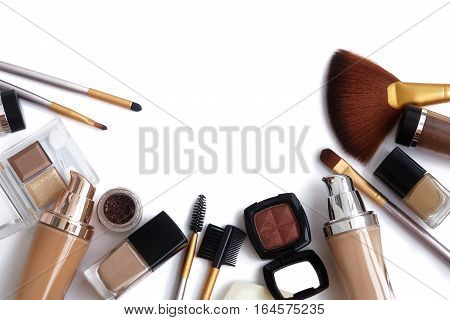 Makeup tools and accessories. Brow eyeshadows naturel skin foundation for clean ton on face nail polish make-up brushes.