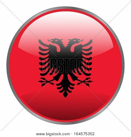 Albania flag. Round isolated vector icon with national flag of Albania on white background.