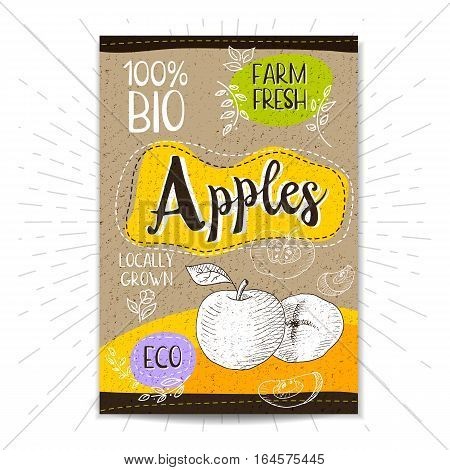Colorful label in sketch style, food, spices, cardboard textured background. Apples Fruits. Bio, eco, farm, fresh. locally grown. Hand drawn vector illustration
