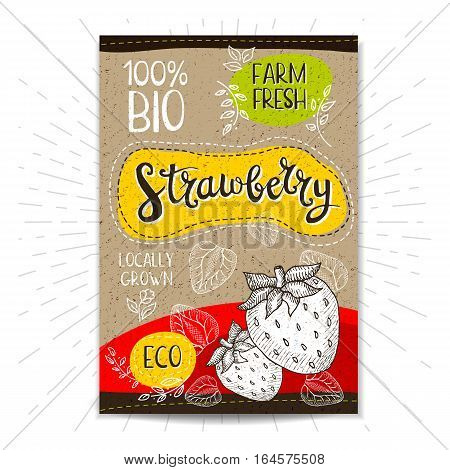 Colorful label in sketch style, food, spices, cardboard textured background. Strawberry Fruits. Bio, eco, farm, fresh. locally grown. Hand drawn vector illustration
