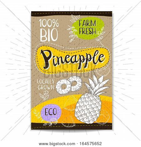 Colorful label in sketch style, food, spices, cardboard textured background. Pineapple Fruits. Bio, eco, farm, fresh. locally grown. Hand drawn vector illustration