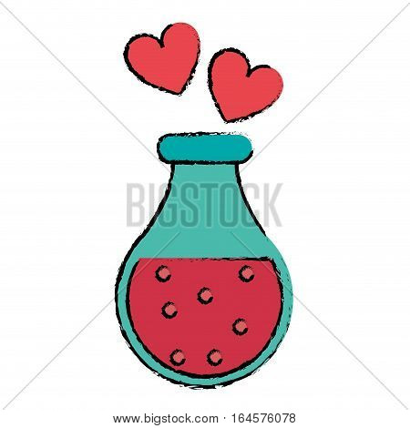 drawing bottle elixir love potion hearts vector illustration eps 10