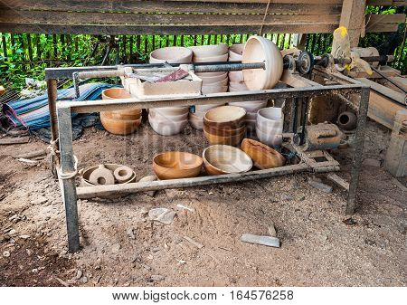 Wood Bowl in Home Made Wood Lathe Machine in Countryside of Thailand.