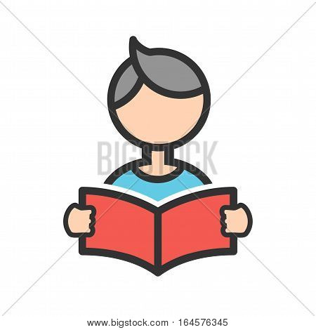 Reading, book, boy icon vector image. Can also be used for kids. Suitable for web apps, mobile apps and print media.