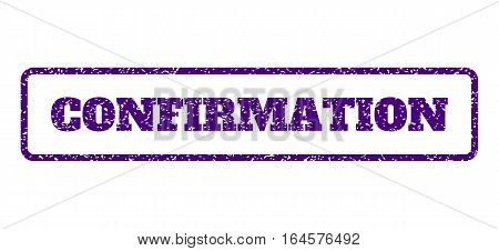 Indigo Blue rubber seal stamp with Confirmation text. Vector message inside rounded rectangular shape. Grunge design and dirty texture for watermark labels. Horisontal sign on a white background.