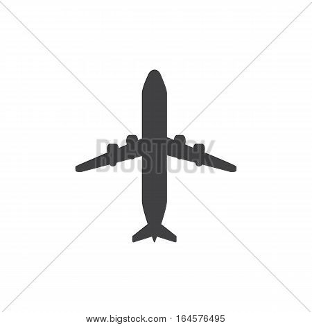 Airplane icon isolated on a white background. Logo silhouette design template. Simple symbol concept in flat style. Abstract sign, pictogram for web, mobile and infographics - stock vector
