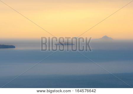 Blurred background of Mediterranean sea, Santorini, Greece