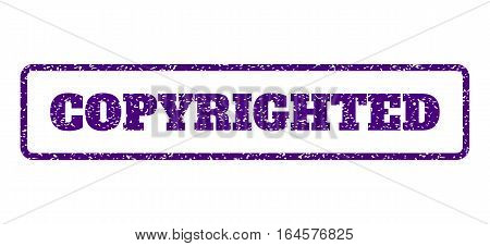 Indigo Blue rubber seal stamp with Copyrighted text. Vector tag inside rounded rectangular banner. Grunge design and dirty texture for watermark labels. Horisontal sign on a white background.