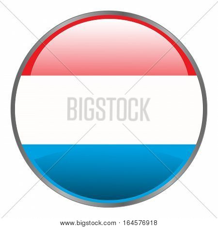Luxembourg flag. Round isolated vector icon with national flag of Luxembourg on white background.