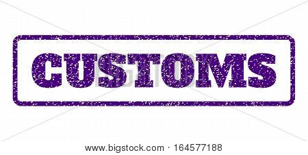 Indigo Blue rubber seal stamp with Customs text. Vector caption inside rounded rectangular shape. Grunge design and dirty texture for watermark labels. Horisontal sign on a white background.