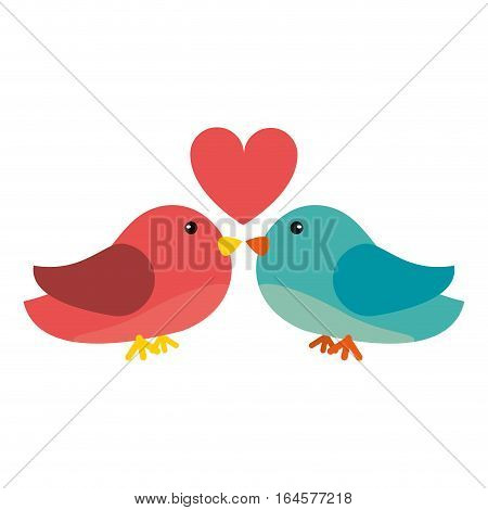 couple bird heart loveling vector illustration eps 10