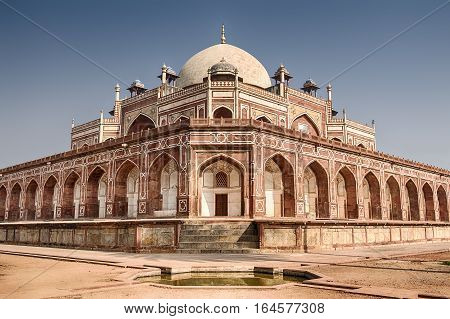 Humayun's tomb built in the 16th century; is the resting place of the Mughal Emperor Humayun in Delhi India. It is a UNESCO World Heritage site.