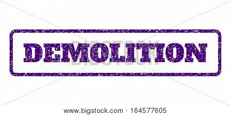 Indigo Blue rubber seal stamp with Demolition text. Vector message inside rounded rectangular frame. Grunge design and unclean texture for watermark labels. Horisontal sign on a white background.