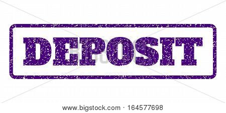 Indigo Blue rubber seal stamp with Deposit text. Vector tag inside rounded rectangular shape. Grunge design and dust texture for watermark labels. Horisontal sign on a white background.