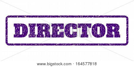 Indigo Blue rubber seal stamp with Director text. Vector caption inside rounded rectangular banner. Grunge design and dust texture for watermark labels. Horisontal emblem on a white background.
