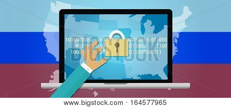Concept of hacking Russia in the United States vector illustration