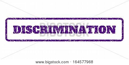 Indigo Blue rubber seal stamp with Discrimination text. Vector tag inside rounded rectangular frame. Grunge design and unclean texture for watermark labels. Horisontal sticker on a white background.