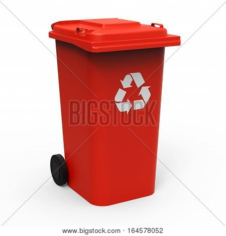 Red recycle bin isolated on white background 3D rendering
