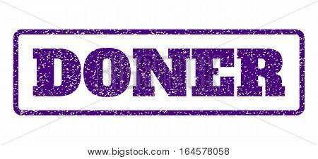 Indigo Blue rubber seal stamp with Doner text. Vector tag inside rounded rectangular frame. Grunge design and scratched texture for watermark labels. Horisontal sticker on a white background.